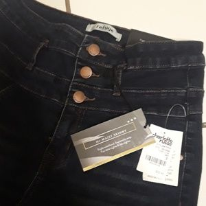 3 Button High Waisted Skinny Jeans
